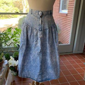 Vintage acid wash denim midi skirt